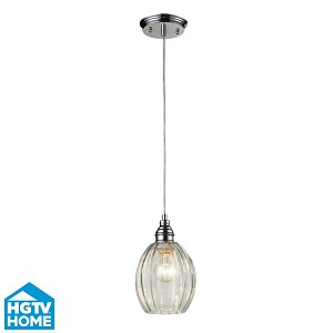 "Danica Collection 1-Light 10"" Polished Chrome Mini Pendant With Scalloped Clear Glass Shade 46017/1"