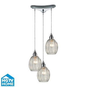 "Danica Collection 3-Light 10"" Polished Chrome Round Pendant With Scalloped Clear Glass Shades 46017/3"