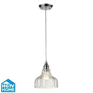 "Danica Collection 1-Light 9"" Polished Chrome Mini Pendant With Scalloped Clear Glass Shade 46018/1"