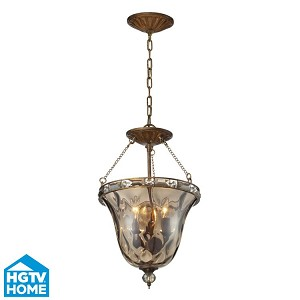 "Cheltham Collection 3-Light 21"" Mocha Dual-Mount Fixture with Champagne Glass 46021/3"