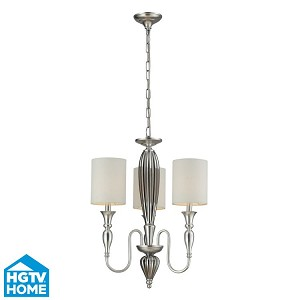 "Martique Collection 3-Light 25"" Silver Leaf Mini Chandelier With Chrome Plated Glass And Textured White Linen Shades 46032/3"