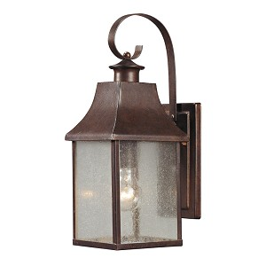 "Town Square Collection 1-Light 16"" Hazelnut Bronze Outdoor Wall Lantern with Seedy Glass 47001/1"