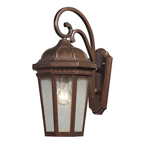 "Fullerton Collection 1-Light 17"" Hazelnut Bronze Outdoor Wall Lantern with Seedy Glass 47031/1"