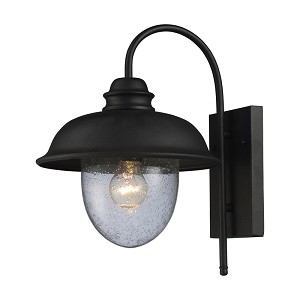 "Streetside Cafe Collection 1-Light 15"" Matte Black Outdoor Wall Lantern with Seeded Blown Glass 62000-1"