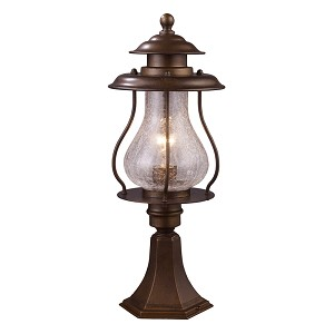 "Wikshire Collection 1-Light 20"" Coffee Bronze Outdoor Post Mount Lantern with Crackled Blown Glass 62007-1"