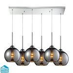 "Cassandra Collection 6-Light 30"" Polished Chrome Linear Pendant With Chrome Plated Glass Shades 10240/6rc-chr"