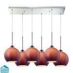 "Cassandra Collection 6-Light 30"" Polished Chrome Linear Pendant With Purple Glass Shades 10240/6rc-pur"