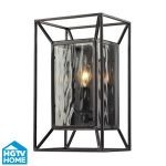 "Cubix Collection 1-Light 12"" Oiled Bronze Wall Sconce With Clear Water Glass 14120/1"
