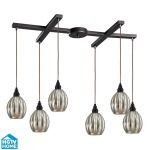 "Danica Collection 6-Light 33"" Oiled Bronze Linear Pendant With Scalloped Mercury Glass Shades 46007/6"