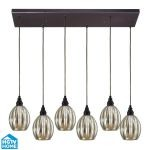 "Danica Collection 6-Light 30"" Oiled Bronze Linear Pendant With Scalloped Mercury Glass Shades 46007/6RC"