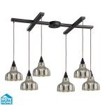 "Danica Collection 6-Light 33"" Oiled Bronze Linear Pendant With Scalloped Mercury Glass Shades 46008/6"