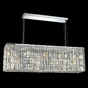 "Ibiza Design 8-Light 44"" Chrome Rectangular Chandelier Pendant with Clear or Golden Teak with European or Swarovski Crystals SKU# 10267"