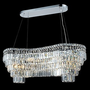 "Ibiza Design 14-Light 40"" Chrome Oblong Chandelier Pendant with European or Swarovski Crystals SKU# 10269"