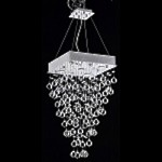 "Drops of Rain Design 5-Light 28"" Square Pendant Chandelier with European or Swarovski Crystals SKU* 10281"