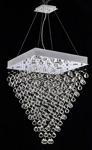 "Drops of Rain Design 8-Light 32"" Square Chandelier Pendant with European or Swarovski Crystals SKU* 10283"