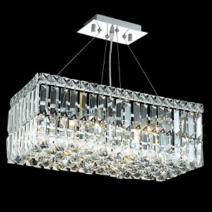 Ibiza Design 4 Light Rectangular 20'' Adjustable Pendant Chandelier Dressed with European or Swarovski Crystals SKU# 10340
