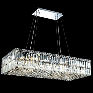 Ibiza Design 16 Light Rectangular 36'' Adjustable Pendant Chandelier Dressed with European or Swarovski Crystals SKU# 10344