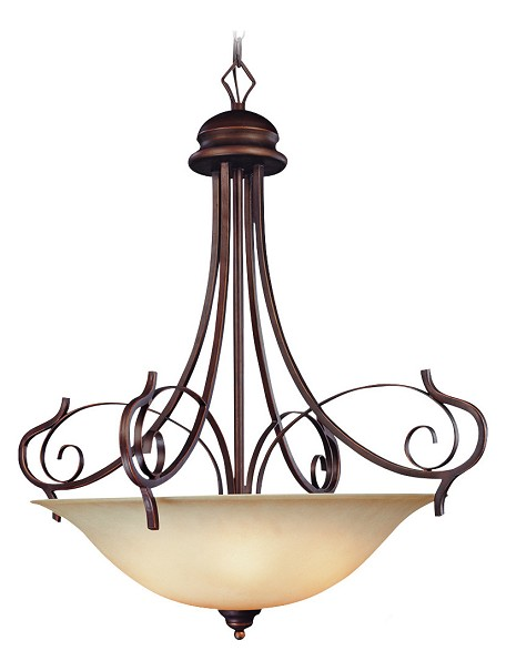 "Preston Place Collection 5-Light 34"" Augustine Pendant with Painted Etched Glass Shade 21735-AGT"
