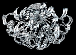 "Tiffany Collection 19-Light 25"" Chrome Crystal Flush Mount Ceiling Fixture 2068F25C/EC"
