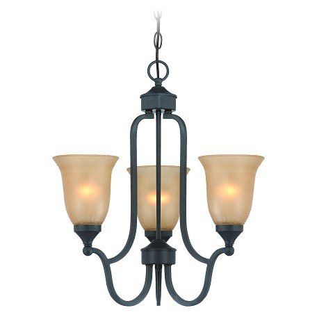 Jeremiah Three Light Oil Rubbed Bronze Tea Stained Glass Up Chandelier - 28723-ORB
