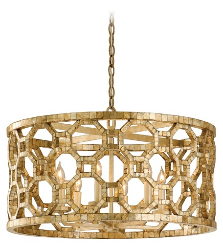 Stained Silver Leaf Regatta 6 Light Drum Chandelier with Hand Crafted Iron Frame and Smoked Capiz Shell Mosaic Plating
