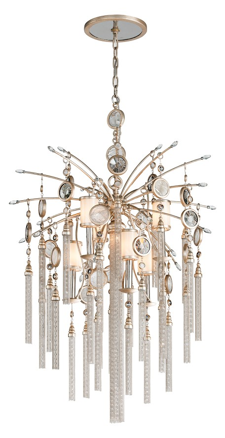 Topaz Leaf Bliss 7 Light Pendant with Hand Crafted Iron Frame and Brazilian Rock Crystal Accents