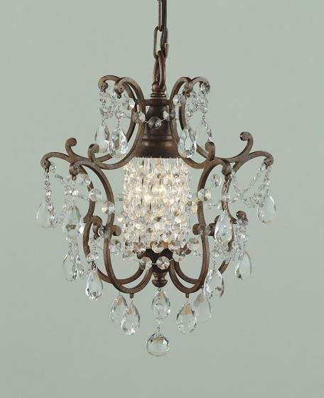 "Maison De Ville Collection 1-Light 11"" British Bronze Mini Crystal Chandelier F1879/1BRB"