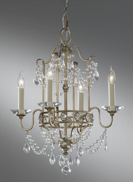 Feiss F2476 4GS Four Light Gilded Silver Up Chandelier From Gianna Collection