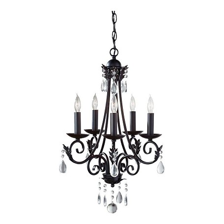 Feiss Five Light Black Up Chandelier - F2758/5BK