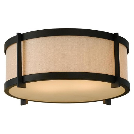 "Stelle Collection 2-Light 14"" Oil Rubbed Bronze Flush Mount with Cream Linen Drum Shade FM335ORB"