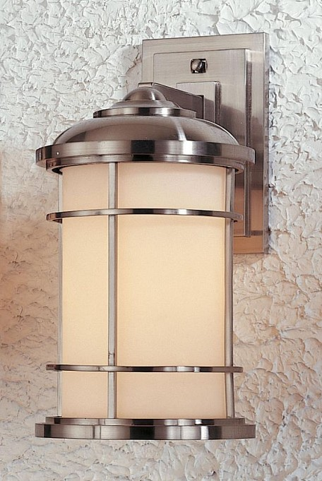 "Lighthouse Collection 1-Light 14"" Brushed Steel Outdoor Wall Light OL2202BS"