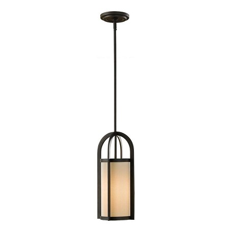 "Stelle Collection 1-Light 17"" Oil Rubbed Bronze Mini Pendant with Cream Linen Shade P1199ORB"