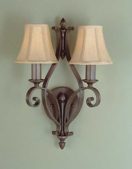 "Tuscan Villa Collection 2-Light 12"" Corinthian Bronze Wall Light with Beige Silk/Soft Lined Shade WB1195CB"