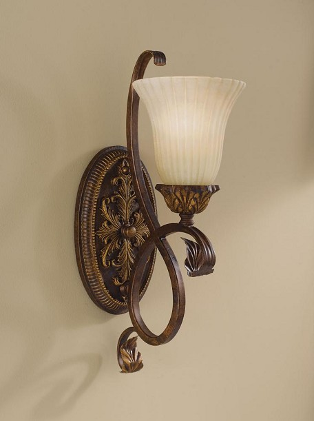 "Sonoma Valley Collection 1-Light 6"" aged Tortoise Shell Wall Light with French Scarvo Glass Shade Shade WB1280ATS"