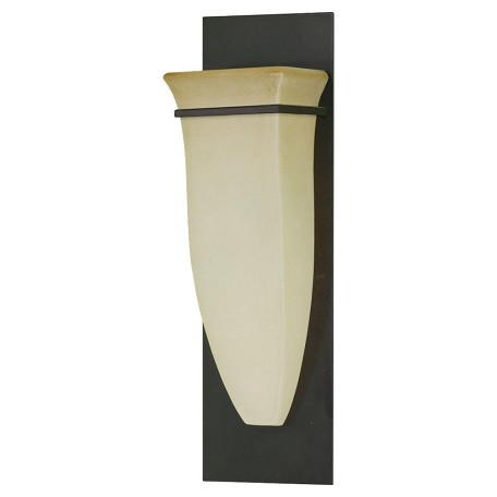 "American Foursquare Collection 1-Light 5"" Oil Rubbed Bronze Wall Sconce with Excavation glass shade Shade WB1329ORB"