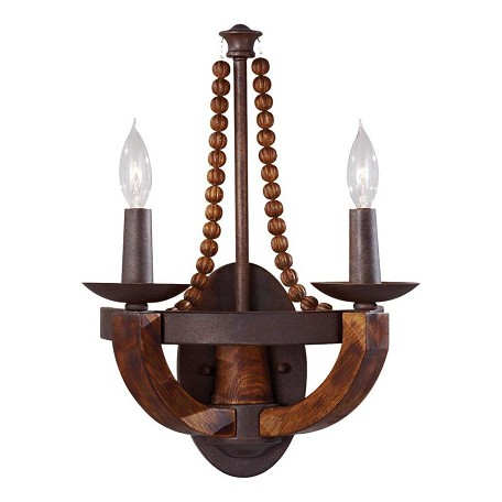 "Adan Collection 2-Light 16"" Rustic Iron Wall Sconce with Burnished Wood Accents WB1591RI/BWD"