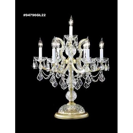 "Crystal Lamps Collection 7-Light 27"" Gold Lustre Table Lamp with IMPERIAL™ Crystal 94796GL22"