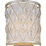 "Diamond Collection 2-Light 11"" Golden Silver Wall Sconce with Creamy Off-White Shade 21458OFGS"