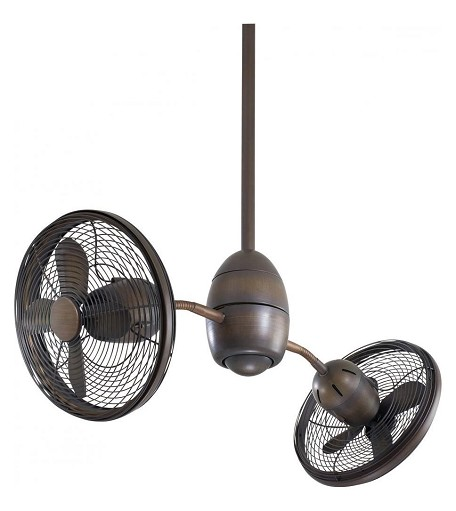 Restoration Bronze 8 Blade 36In. Indoor Ceiling Fan With Adjustable Twin Turbofan Heads, Rotating Flexible Arms And 360 Degree Fan Rotation