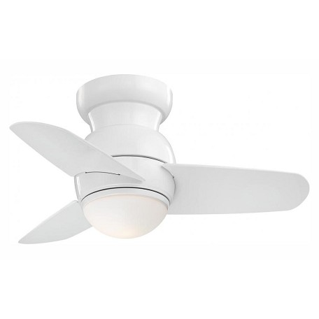 White Spacesaver 3 Blade 26In. Flush Mount Ceiling Fan With Blades And Integrated 1 Bulb Light Kit Included