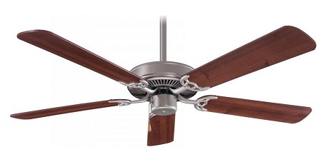 Brushed Steel / Dark Walnut Contractor 52In. 5 Blade Indoor Ceiling Fan With Blades Included