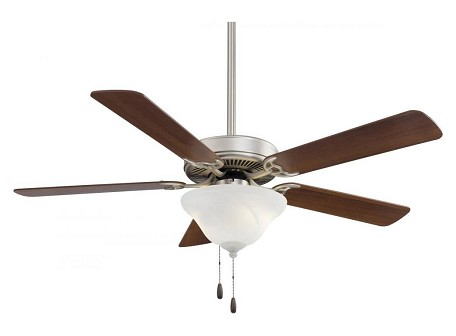 Brushed Steel W / Silver Blades Contractor 52In. 4 Or 5 Blade Indoor Ceiling Fan With Blades And Light Kit Included