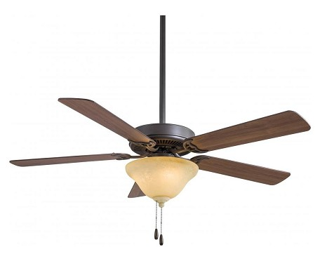 Oil Rubbed Bronze With Excavation Glass Contractor 5 Blade Energy Star 52In. Ceiling Fan With Blades And 2 Cfl Bulb Integrated Light Kit Included