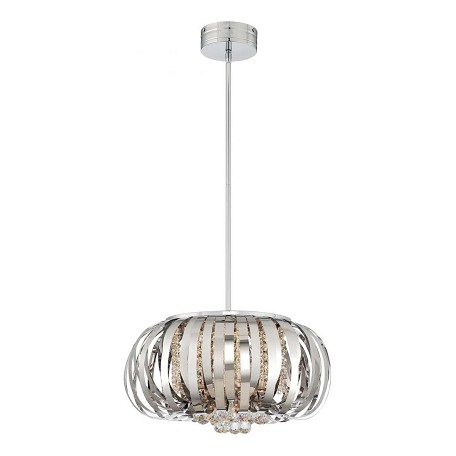 Chrome 1 Light 11in. Height Full Sized LED Pendant from the LED Metal and Crystal Collection