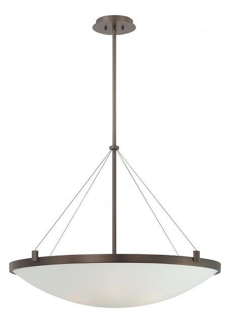 Copper Bronze Patina 6 Light Bowl Shaped Pendant from the Suspended Collection