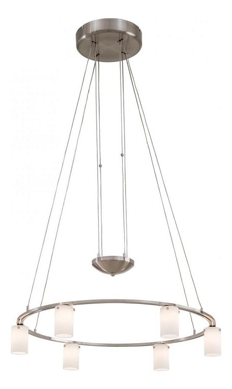 Brushed Nickel 6 Light 1 Tier Suspension Chandelier from the Counter Weights Collection