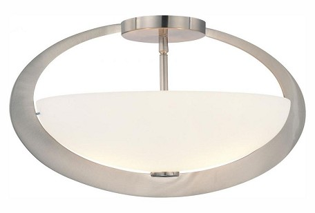 Brushed Nickel 2 Light Semi-Flush Ceiling Fixture from the Earring Collection