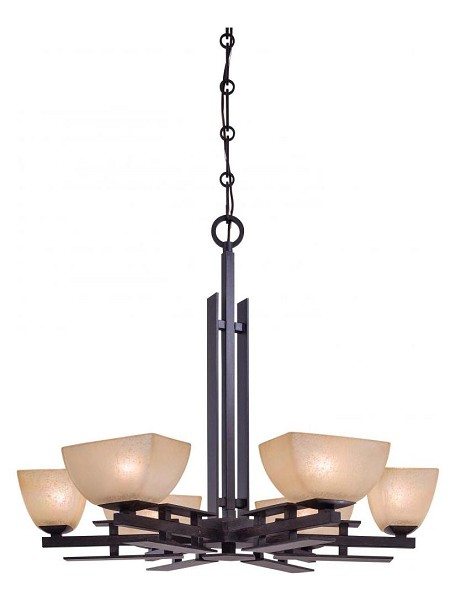 Iron Oxide 6 Light 1 Tier Chandelier From The Linear Collection