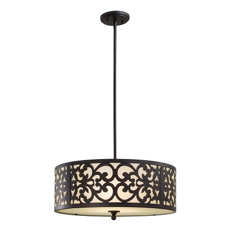 Iron Oxide 3 Light Indoor Drum Pendant From The Nanti Collection