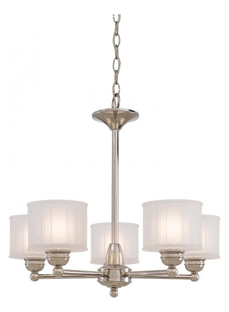Polished Nickel 5 Light 1 Tier Mini Chandelier From The 1730 Series Collection